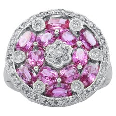 Pink Sapphire and Diamond Disk Ring