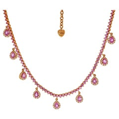 Pink Sapphire and Diamond Drops Rose Gold Necklace