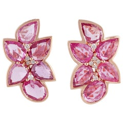 Pink Sapphire and Diamond Earring Studded in 18 Karat Rose Gold