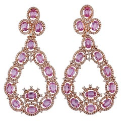 Pink Sapphire and Diamond Earrings Studded in 18 Karat Rose Gold