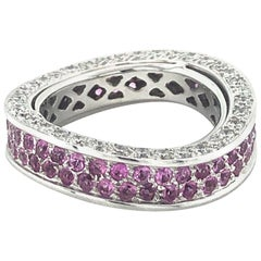 Pink Sapphire and Diamond Eternity Ring in White Gold 750