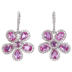 Pink Sapphire and Diamond Floral Dangle Earrings White Gold