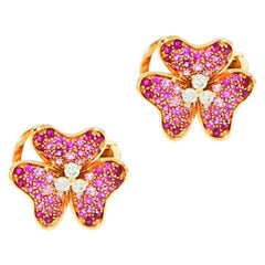 Pink Sapphire and Diamond Flower Rose Gold Earrings