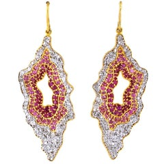Pink Sapphire and Diamond Geode Style Earrings Set in 18 Karat Gold