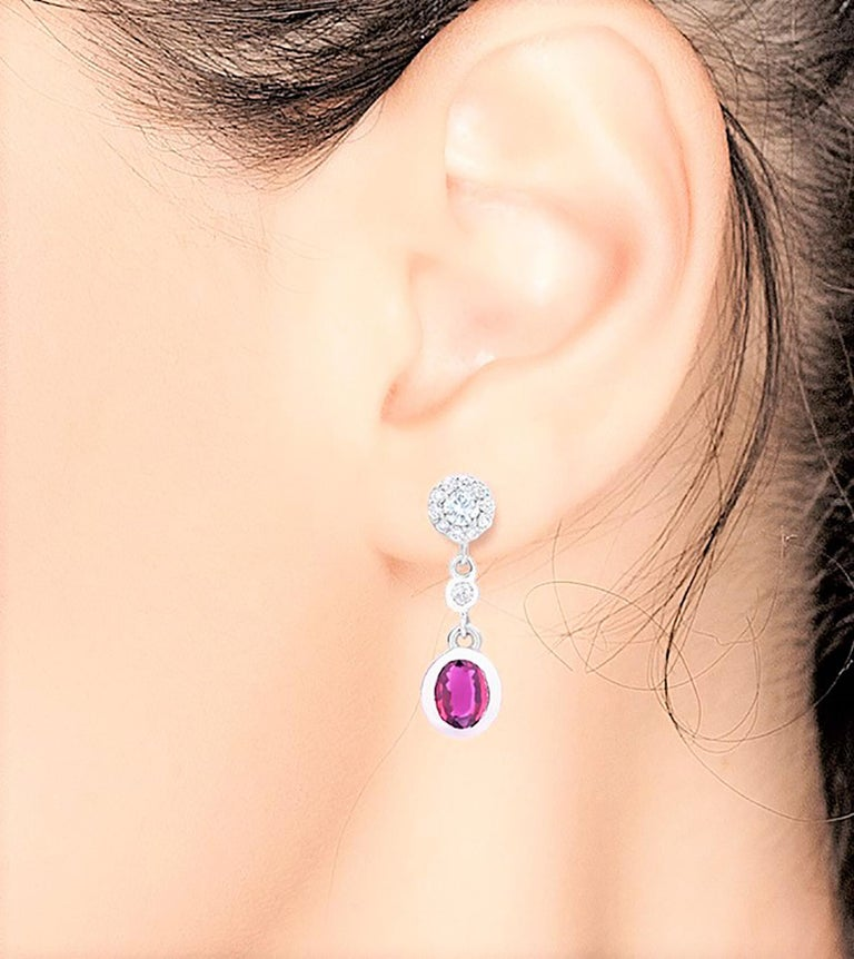 Pink Sapphire and Diamond Gold Drop Earrings In New Condition For Sale In New York, NY