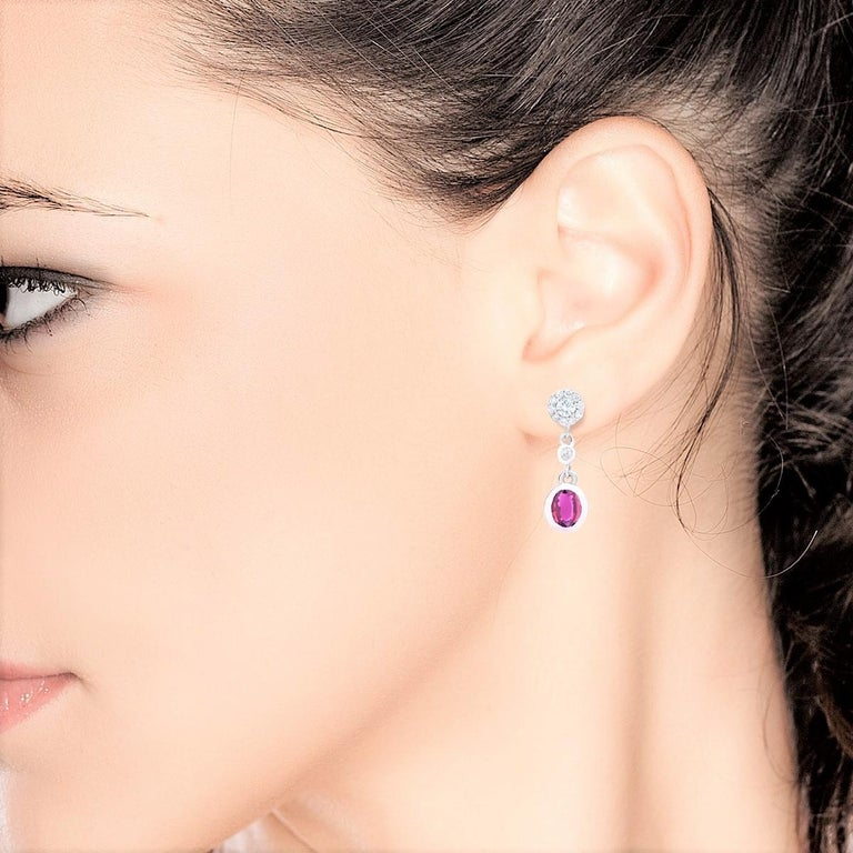 Women's Pink Sapphire and Diamond Gold Drop Earrings For Sale