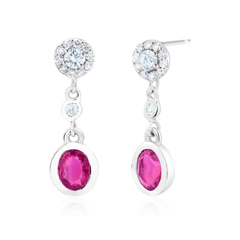 Contemporary Pink Sapphire and Diamond Gold Drop Earrings For Sale