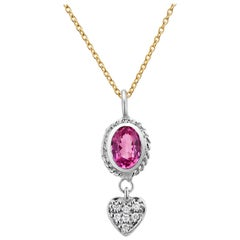 Pink Sapphire and Diamond Heart Gold Pendant Necklace Weighing 0.77 Carat