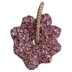 Pink Sapphire and Diamond Pendant Necklace
