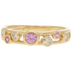 Pink Sapphire and Diamond Retro Bubble Ring Set in 18 Karat Yellow Gold