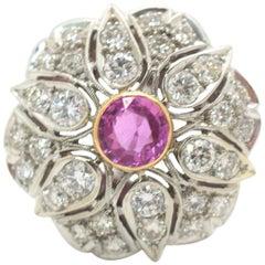 Pink Sapphire and Diamond Ring 14 Karat White Gold 4.67 Carat