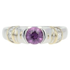 Pink Sapphire and Diamond Ring, 14 Karat White Gold Princess .94 Carat