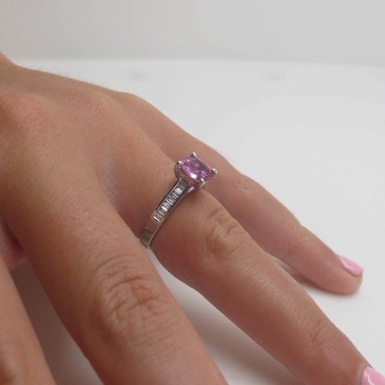 Artisan 1.78 Carat Pink Sapphire and Diamond Baguette Ring 18k White Gold For Sale