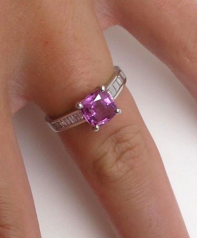 Baguette Cut 1.78 Carat Pink Sapphire and Diamond Baguette Ring 18k White Gold For Sale