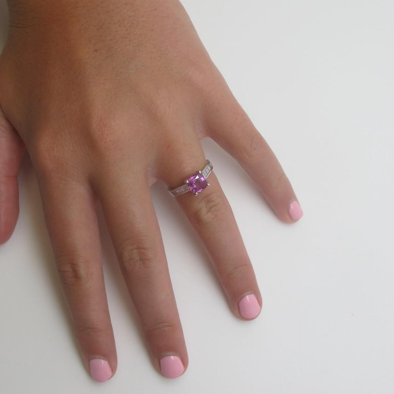 1.78 Carat Pink Sapphire and Diamond Baguette Ring 18k White Gold In New Condition For Sale In Los Angeles, CA