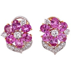 Pink Sapphire and Diamond Two-Tone Gold Cluster Earrings Fine Estate Jewelry