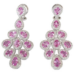 Pink Sapphire and Diamond White Gold 18 Carat Dangle Earrings