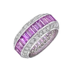 Pink Sapphire and Diamond Wide Band Ring