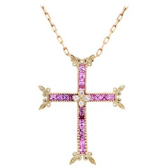 Pink Sapphire and Diamond Yellow Gold Cross Pendant Stambolian