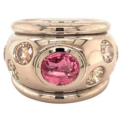 Pink Sapphire and Fancy Color Diamond Ring in 18 Karat White Gold