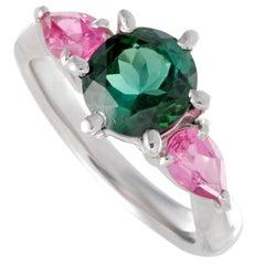 Pink Sapphire and Green Tourmaline Platinum Three-Stone Ring