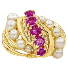 Pink Sapphire and Pearl Dome Cocktail Ring