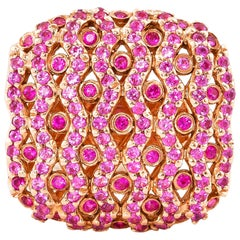 Pink Sapphire and Ruby Ring in 14 Karat Rose Gold