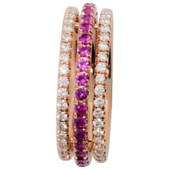 Pink Sapphire and White Diamond Band in 14 Karat Rose Gold