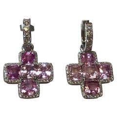 Pink Sapphire and White Diamond Dangle Earrings in 18 Karat White Gold