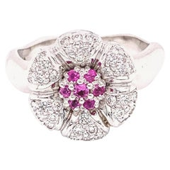 """Pink Sapphire and White Diamond Gold """"Flower"""" Engagement Ring"""