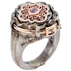 Pink Sapphire and white Diamond Juliette Jeans Ring