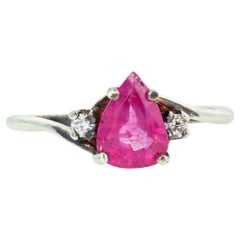 Pink Sapphire and White Zircon Sterling Silver Ring