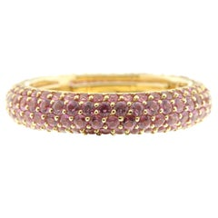 Pink Sapphire and Yellow Gold Eternity Ring, Multi-Size