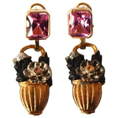 Pink Sapphire Antiques Japanies Menuki 18 Karat Gold Earrings