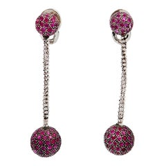 Pink Sapphire Ball Dangle Drop Earrings White Gold