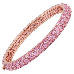 Pink Sapphire Bangle Studded in 18 Karat Rose Gold