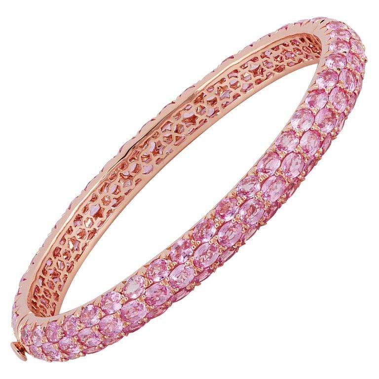 Pink Sapphire Bangle Studded in 18 Karat Rose Gold