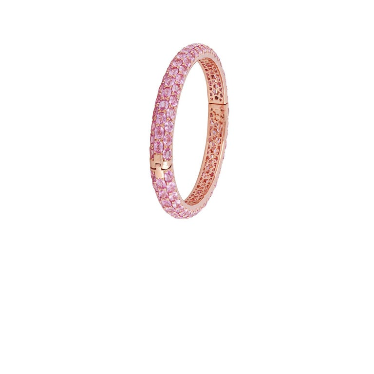 Contemporary Pink Sapphire Bangle Studded in 18 Karat Rose Gold
