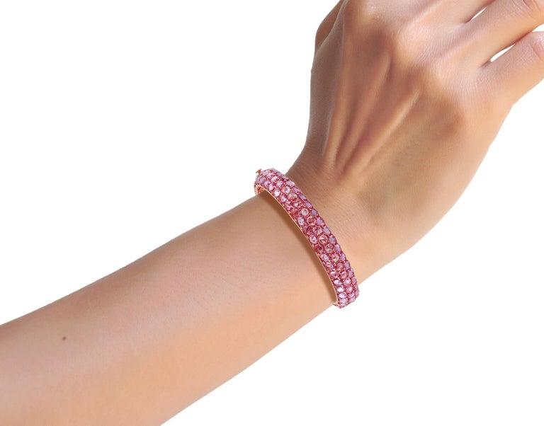 Oval Cut Pink Sapphire Bangle Studded in 18 Karat Rose Gold