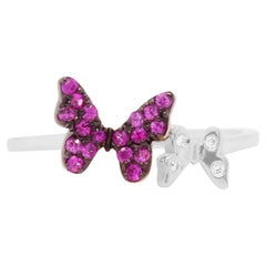 Pink Sapphire Black Rhodium 14 Karat White Gold Butterfly Ring