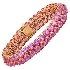 Pink Sapphire Bracelet Set in 18 Karat Rose Gold Settings