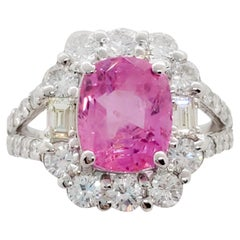 Pink Sapphire Cushion and White Diamond Cocktail Ring in Platinum