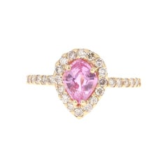 Pink Sapphire Diamond 14 Karat Rose Gold Engagement Ring