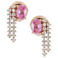 Pink Sapphire Diamond 18 Karat Gold Chain Earrings