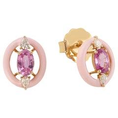 Pink Sapphire Diamond 18 Karat Gold Enamel Stud Earrings
