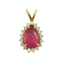 Pink Sapphire, Diamond 2.90 Carat Halo Pendant
