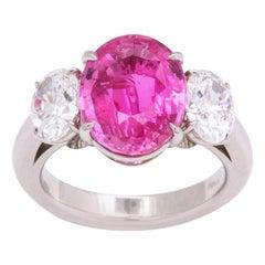 Pink Sapphire Diamond 3-Stone Ring