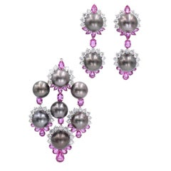 Pink Sapphire, Diamond, and Cultured Grey Pearl Pendant and Earrings