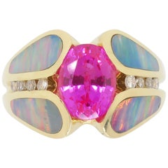 Pink Sapphire Diamond and Opal Ring Made in 14 Karat Yellow Gold
