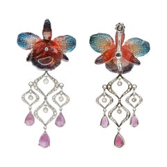 Pink Sapphire, Diamond and Orchid and 18-Karat White Gold Chandelier Earrings